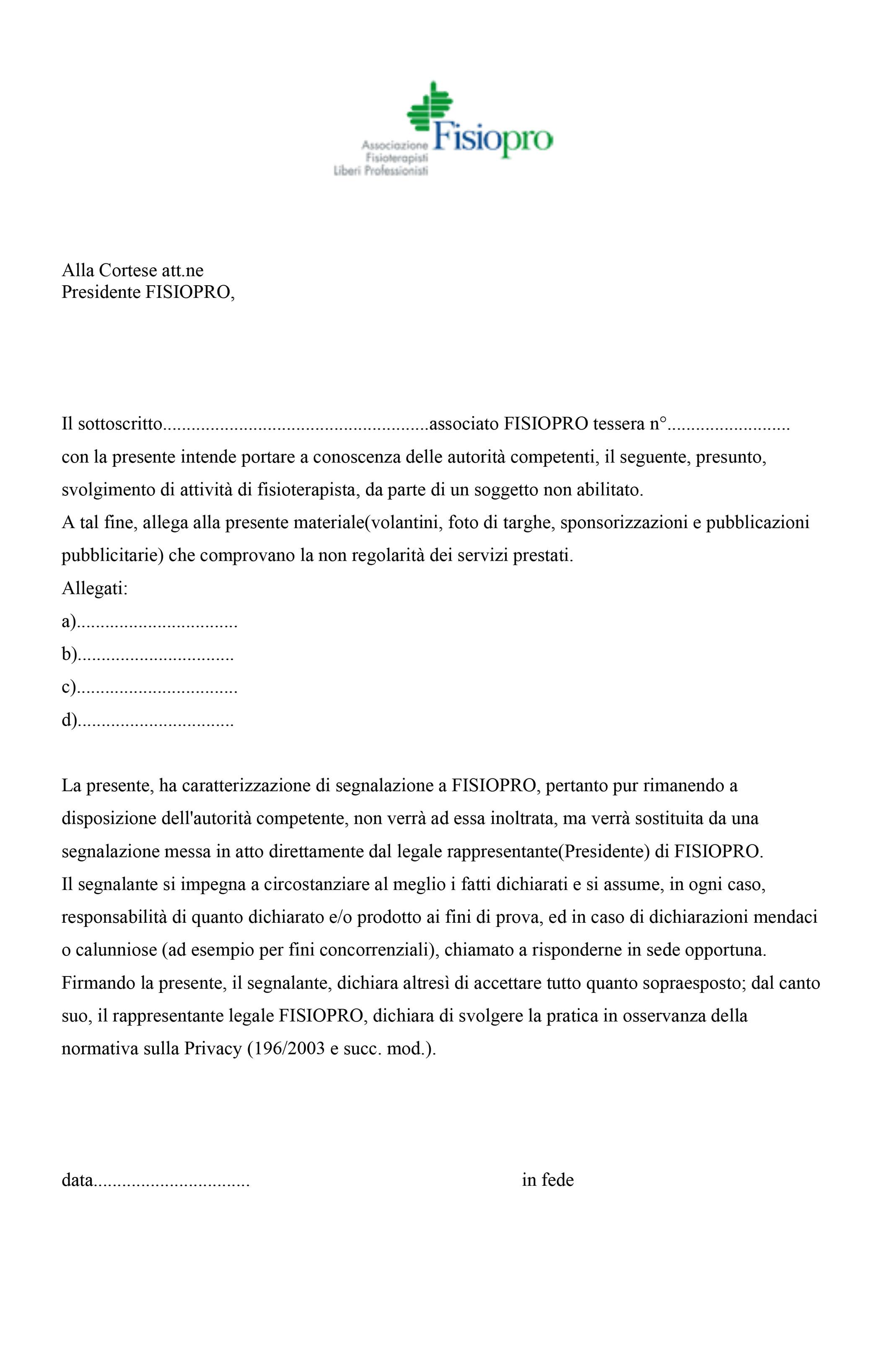 Lettera di segnalazione